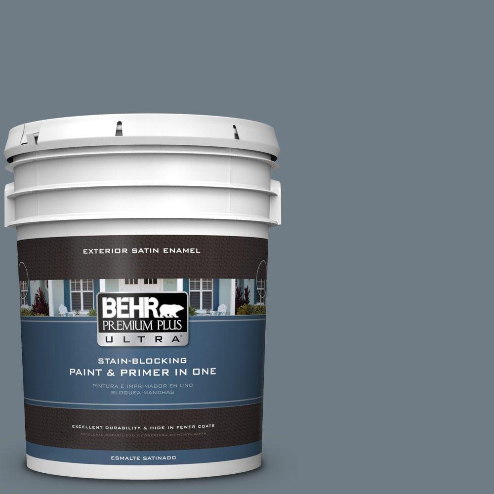 BEHR Premium Plus Ultra 5-gal. #N490-5 Charcoal Blue Satin Enamel Exterior Paint