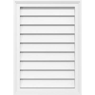 24 in. x 30 in. Vertical Surface Mount PVC Gable Vent Functional with Brickmould Frame in White