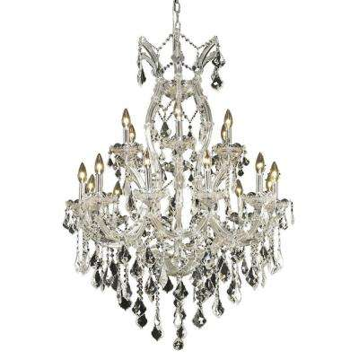 19-Light Chrome Chandelier with Clear Crystal