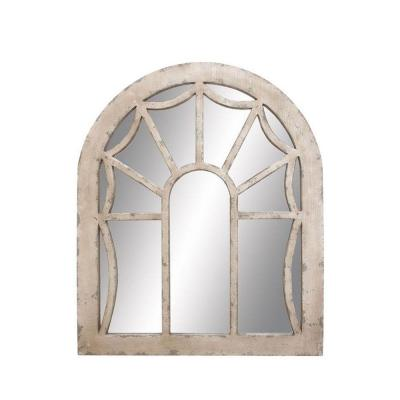 Large Oval Antique Ivory Modern Mirror (44 in. H x 36 in. W)