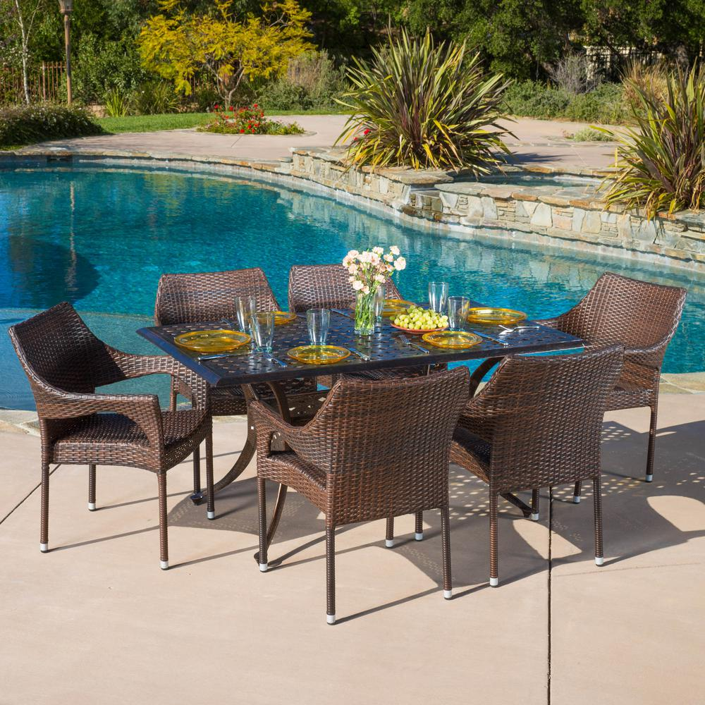 Noble House Cliff Bronze and Mixed Brown 7-Piece Aluminum and Wicker Outdoor Dining Set-294936 ...