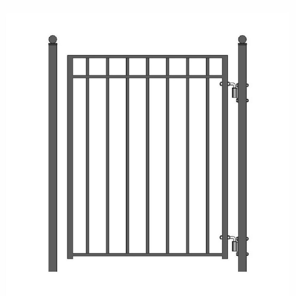 Madrid Style 4 ft. x 5 ft. Black Steel Pedestrian Fence Gate