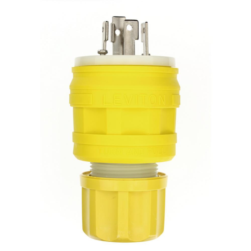 30 Amp 125/250-Volt Wetguard Locking Grounding Connector, Yellow
