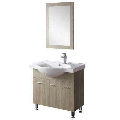 33.5 in. W x 19.5 in. D x 32 in. H Vanity in Beige with Ceramic Vanity Top in White