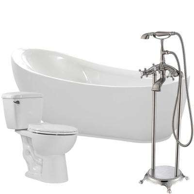 Talyah 71 in. Acrylic Flatbottom Non-Whirlpool Bathtub in White with Tugela Faucet and Cavalier 1.28 GPF Toilet