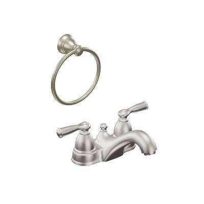 Adler 4 in. Centerset 2-Handle Bathroom Faucet with Towel Ring in Spot Resist Brushed Nickel