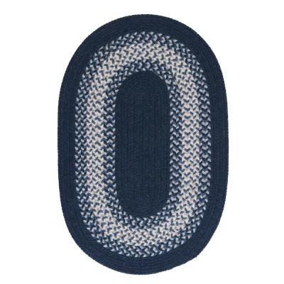 Chancery Navy 7 ft. x 9 ft. Oval Braided Area Rug
