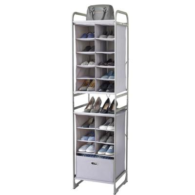 10-Cubby Fabric and Metal Versa System Closet Shoe Organizer in Alloy Grey with a 6-Cubby Bin Drawer Storage Tower