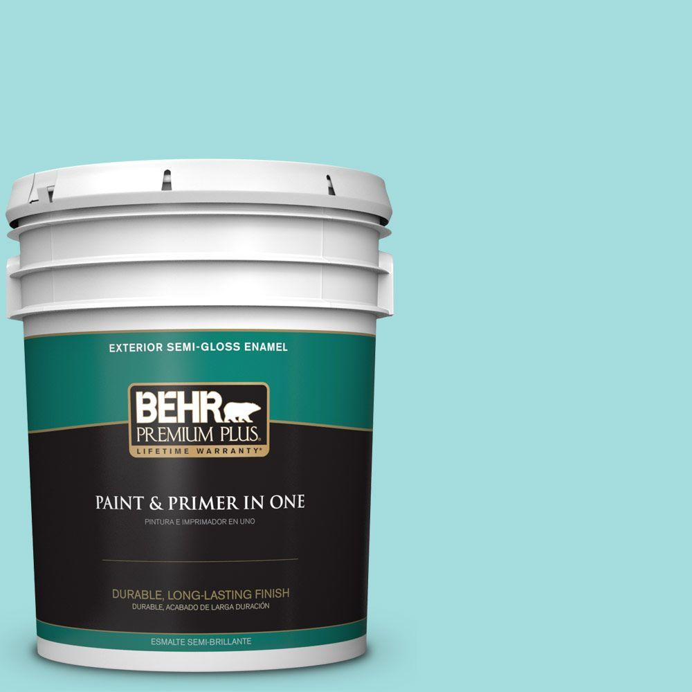 BEHR Premium Plus 5-gal. #500A-3 Aqua Spray Semi-Gloss Enamel Exterior Paint