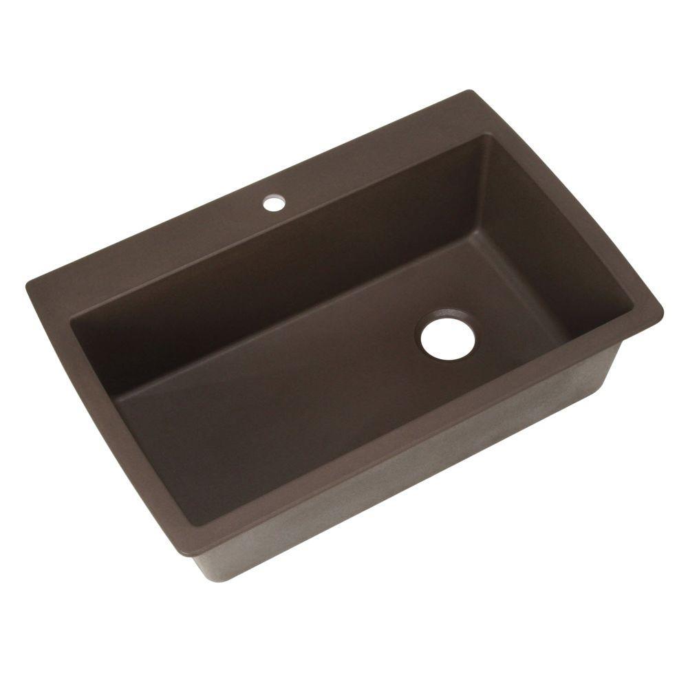 Diamond Dual Mount Granite Composite 33 In. 1 Hole Super Single Bowl  Kitchen Sink