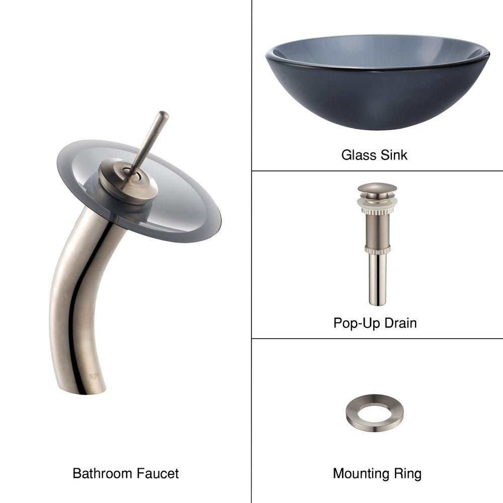 KRAUS Glass Bathroom Sink in Frosted Black with Single Hole 1-Handle Low Arc Waterfall Faucet in Satin Nickel-DISCONTINUED