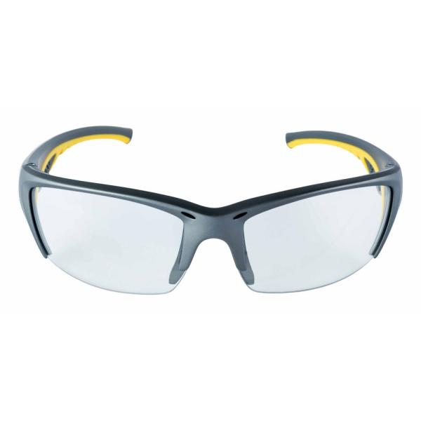 Safety Eyewear Glasses Gray Frame with Yellow Accent Clear Anti-Fog and Scratch Resistant Lens (Case of 4)