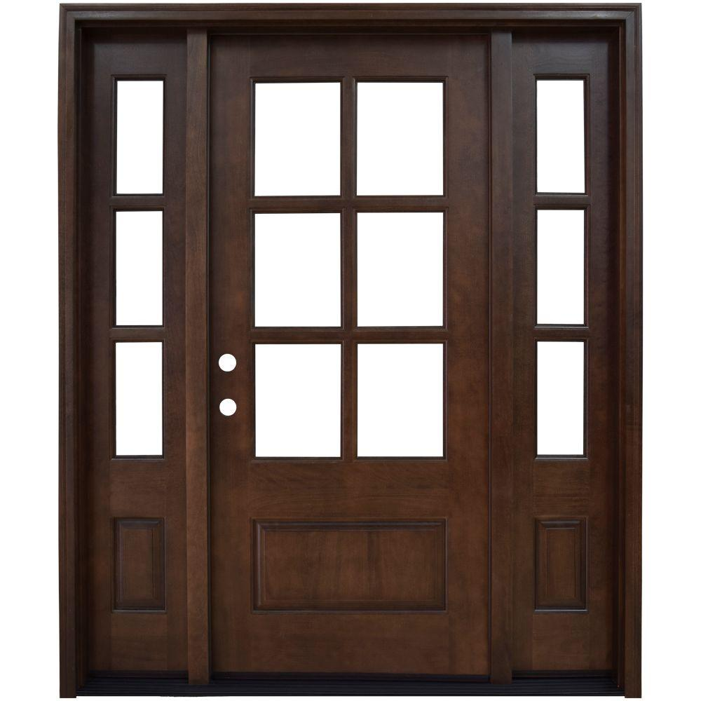 Steves & Sons 60 in. x 80 in. Savannah Right-Hand 6 Lite Clear Stained Mahogany Wood Prehung Front Door with Sidelites