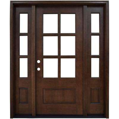 68 in. x 80 in. Savannah Clear 6 Lite RHIS Mahogany Stained Wood Prehung Front Door with Double 14 in. Sidelites