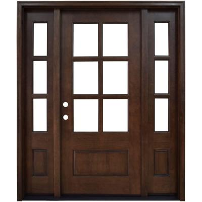 60 in. x 80 in. Savannah Clear 6 Lite RHIS Mahogany Stained Wood Prehung Front Door with Double 10 in. Sidelites