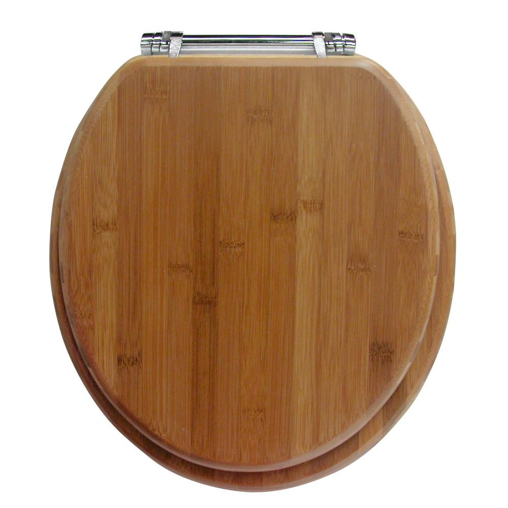 Ginsey Chrome Hinge Round Closed Front Toilet Seat in Bamboo