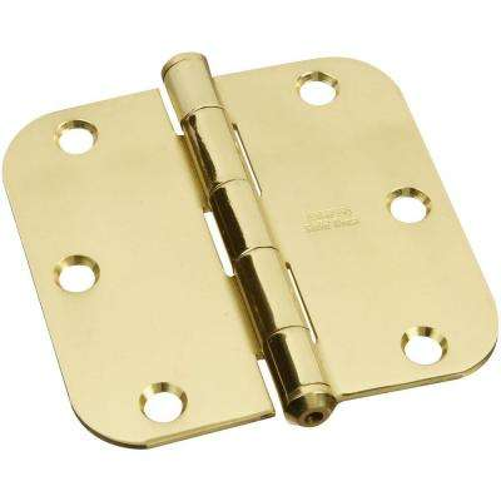3-1/2 in. x 3-1/2 in. Solid Brass 5/8 in. Radius Residential Hinge