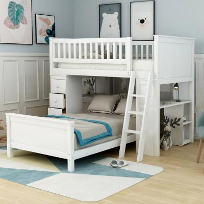 White Twin Over Twin Bunk Bed with Drawers and Shelves