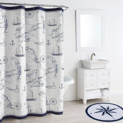 Cape Island Navy Cotton 72in. X 84in. Shower Curtain