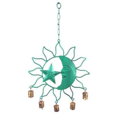 Sun Moon and Star 20 in. Verdigris Finish Metal Wind Chime with Metal Bells