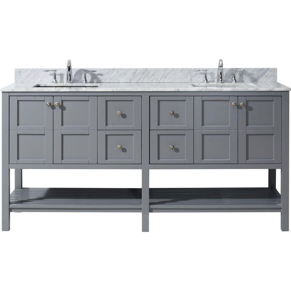 Virtu USA Winterfell 72 in. W Bath Vanity in Gray with Marble Vanity on a bathroom with shower, a bathroom sink, a bathroom mirror,