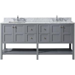 Virtu USA Winterfell 72 inch W x 22 inch D Vanity in Grey with Marble Vanity Top in White with White Basin by Virtu USA