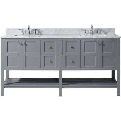 Winterfell 72 in. W x 22 in. D Vanity in Grey with Marble Vanity Top in White with White Basin