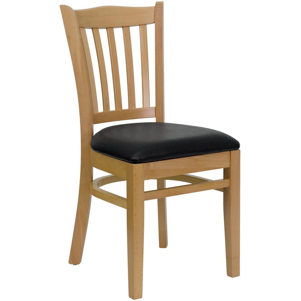 Hercules Series Natural Wood Vertical Slat Back Wooden Restaurant Chair with Black Vinyl Seat
