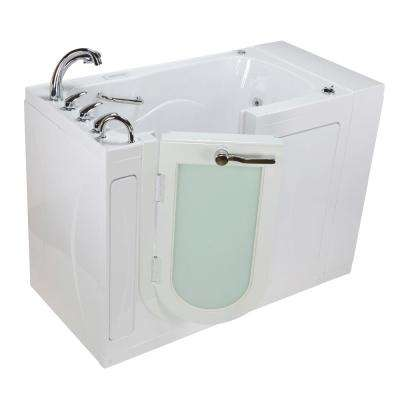 Monaco Acrylic 52 in. Walk-In Whirlpool and Air Bath in White Heated Seat Fast Fill Faucet Set Left 2 in. Dual Drain