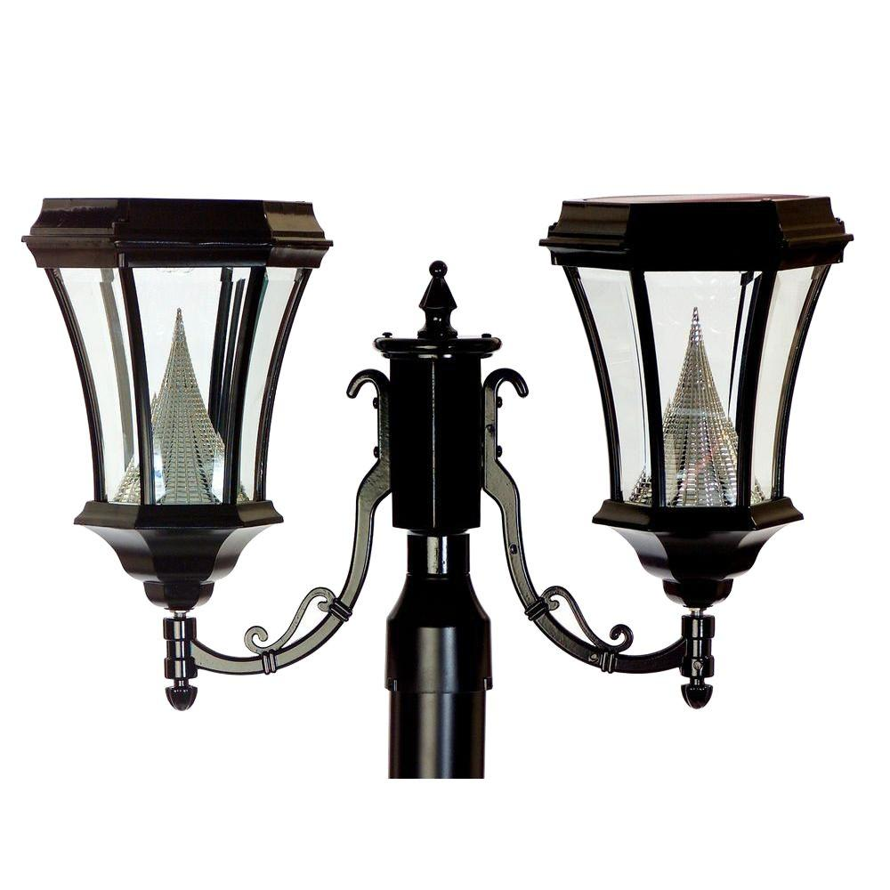 Gama Sonic 15 in. Victorian Outdoor Black 6 LED Solar Lamp with 3 in. Fitter Mount, Double Lamp