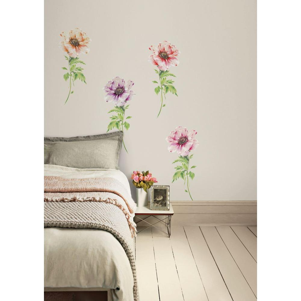 Snap 39.75 in. x 17.125 in. Multi-Colored Poppies Wall Decal