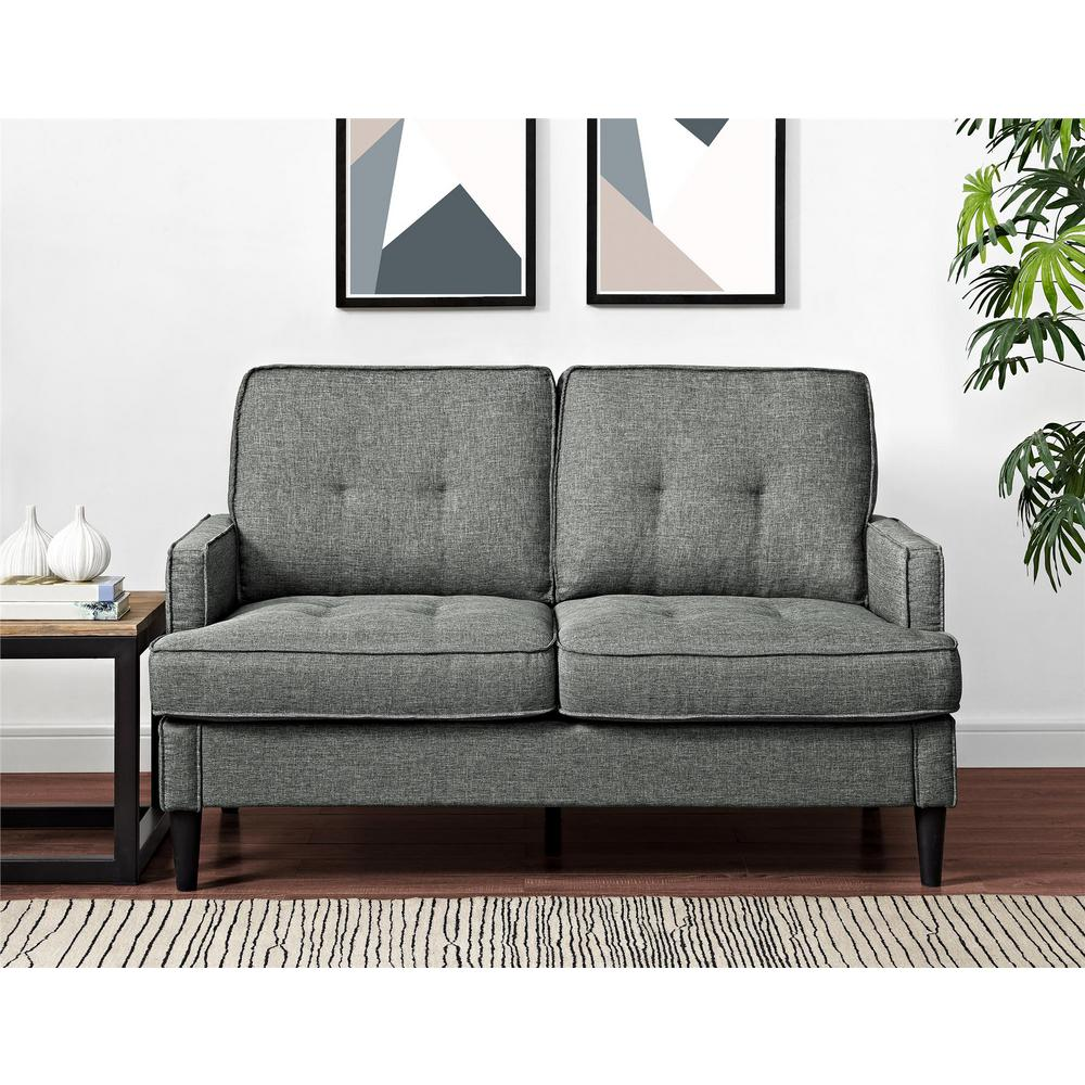 Lakewood Tufted Gray Loveseat