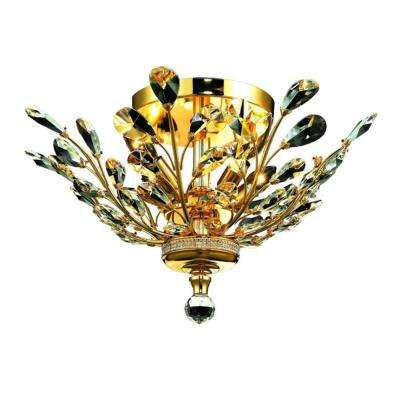 Aspen Collection 4-Light Gold and Clear Crystal Floral Semi-Flush Mount