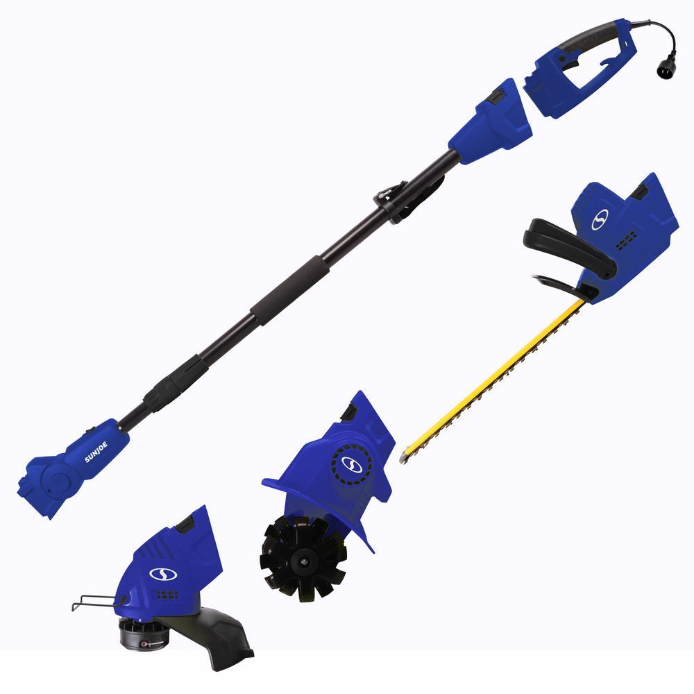 4.5 Amp Electric Lawn and Garden Multi-Tool System Hedge Trimmer/Grass Trimmer/Garden Tiller, Blue