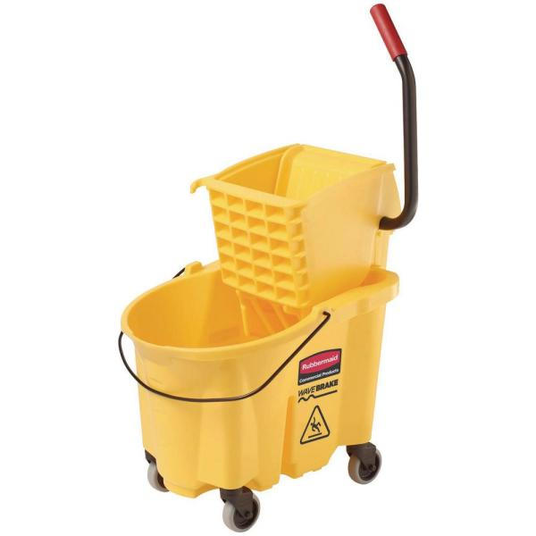 33Qt Metro Commercial Mop Bucket with Side Press Wringer Yellow