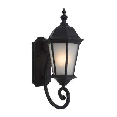 Brielle Collection 1-Light Black Outdoor Wall-Mount Lamp