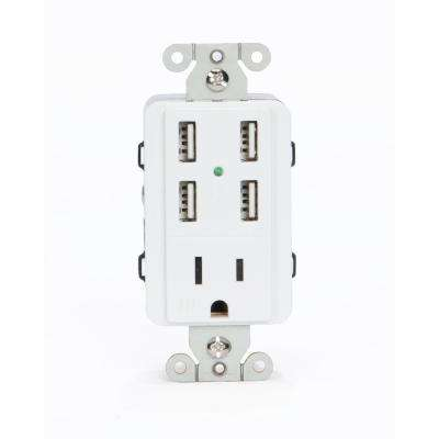 15 Amp AC Wall Outlet Receptacle with 4 Built-In USB Charging Ports