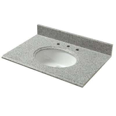 37 in. W Granite Vanity Top in Napoli with White Basin