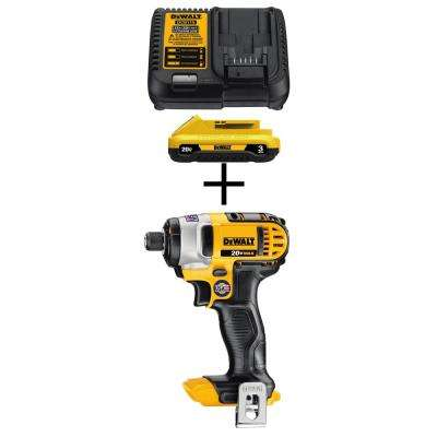 20-Volt MAX Lithium-Ion Battery Pack 3.0Ah and Charger with Bonus Bare 1/4 in. Impact Driver