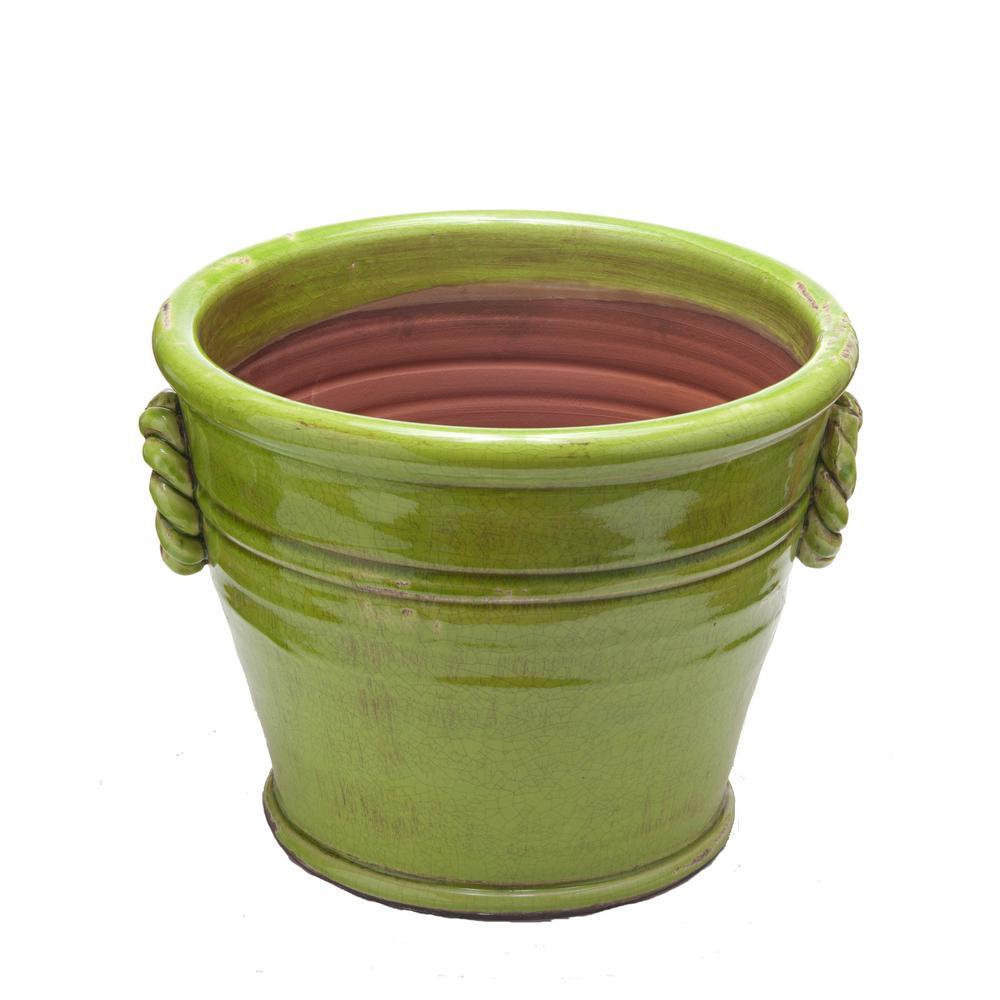 Vinci Large Green Glazed Ceramic Terracotta Planter