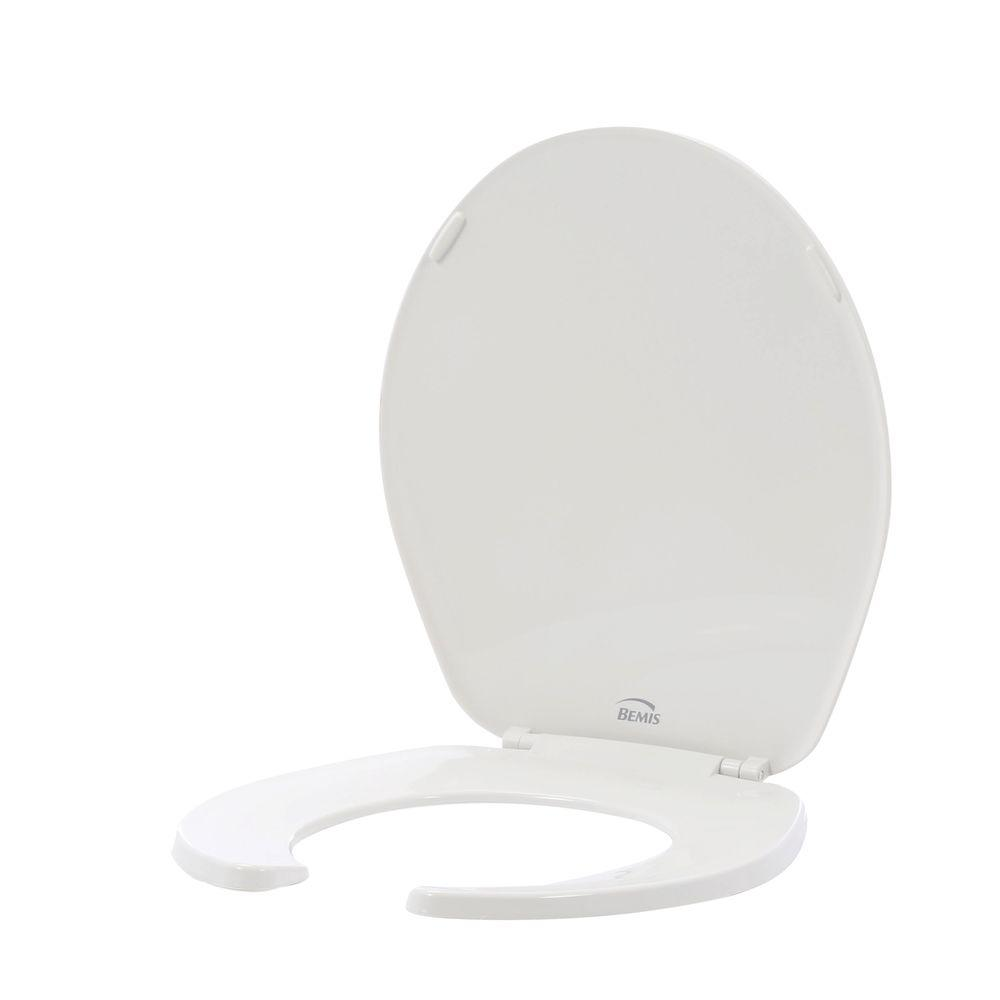 BEMIS Round Open Front Toilet Seat Lid Cover White Hardware Bathroom Bath Hinges