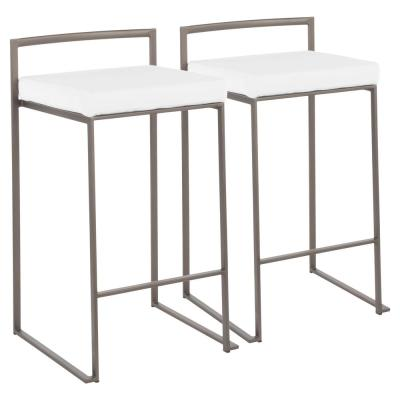 Fuji 26 in. Antique Stackable Counter Stool with White Velvet Cushion (Set of 2)
