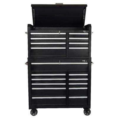 42 in. 19-Drawer Tool Chest and Cabinet Combo in Black (2-Piece)