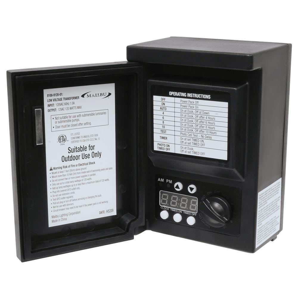 Malibu Led 200 Watt Low Voltage Transformer Power Pack: Home Depot MALIBU Low-Voltage 120-Watt Digital Transformer