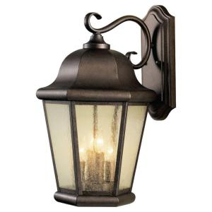 Martinsville 12 in. W 4-Light Corinthian Bronze Outdoor 20 in. Wall Lantern Sconce w/Clear Seeded Glass Panel