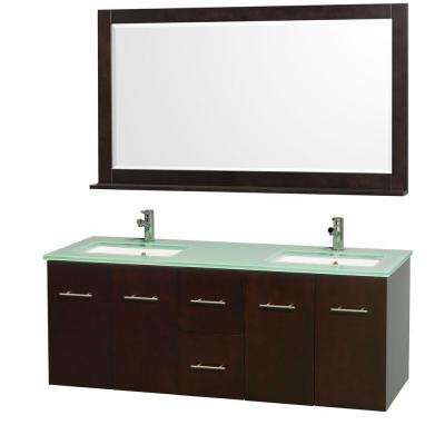 Centra 60 in. Double Vanity in Espresso with Glass Vanity Top in Aqua and Square Porcelain Under-Mounted Sinks