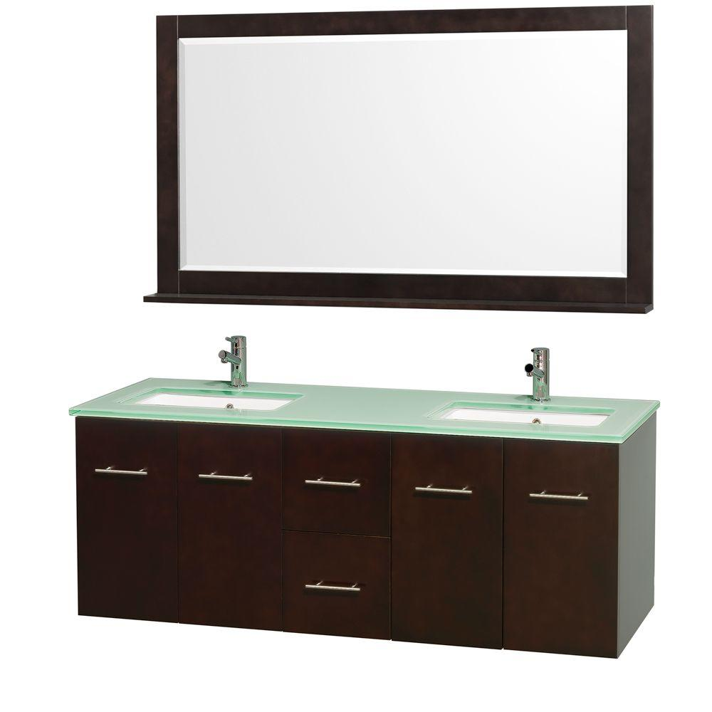 Wyndham Collection Centra 60 in. Double Vanity in Espresso with Glass Vanity Top in Aqua and Square Porcelain Under-Mounted Sinks