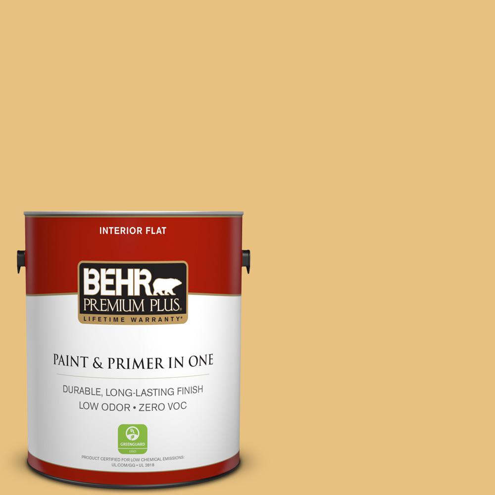 BEHR Premium Plus 1-gal. #340D-4 Honey Bear Zero VOC Flat Interior Paint