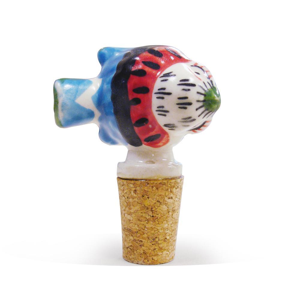 2-Piece Fish Ceramic Bottle Stopper Set