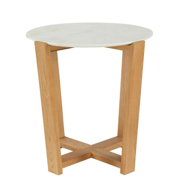 Acme Furniture Tartan White and Natural Side table 80986